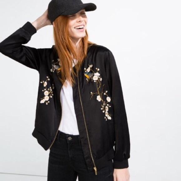 Zara Floral Embroided Bomber Jacket